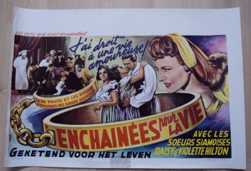 Chained For Life, Original Belgian Movie Poster, Hilton twins (from Freaks), '52